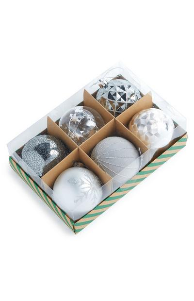 Silver Luxury Baubles 6 pack