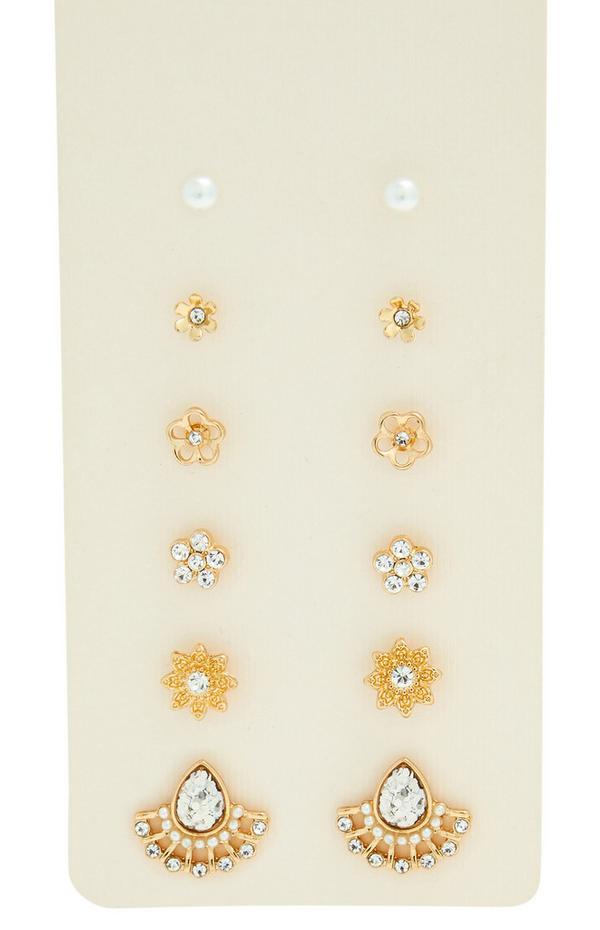 Goldfarbene Blumen-Ohrstecker mit Ziersteinen, 6er-Pack