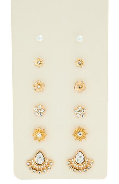 6 paia di orecchini dorati a bottone a forma di fiore con strass