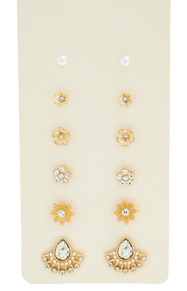Zlati neviseči cvetlični uhani z diamanti, 6 parov