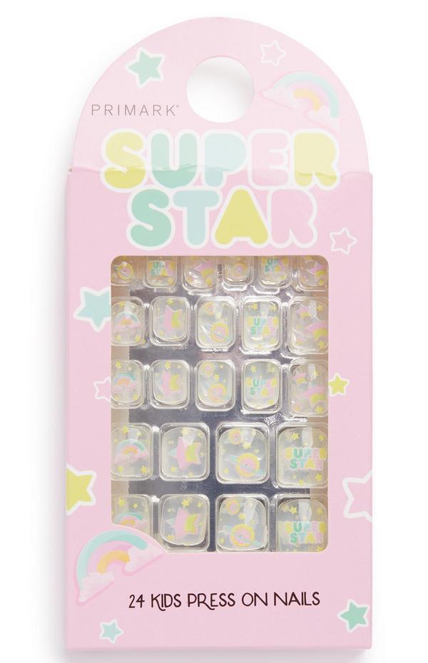 "Transparente Kunstnägel mit ""Super Star""-Print"