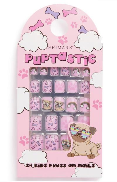 Pink Puppy Print Press On Nails