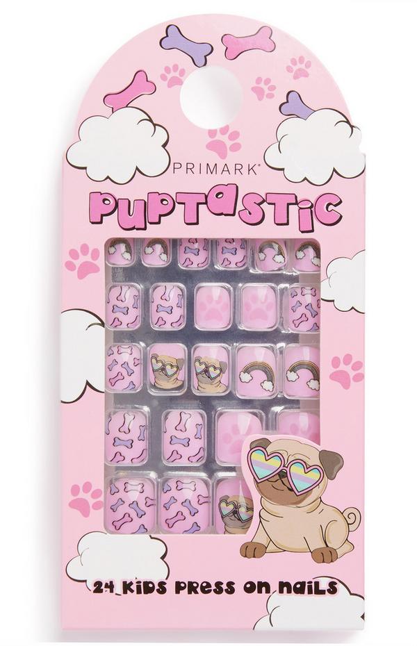 Pink Puppy Print Press On Nails