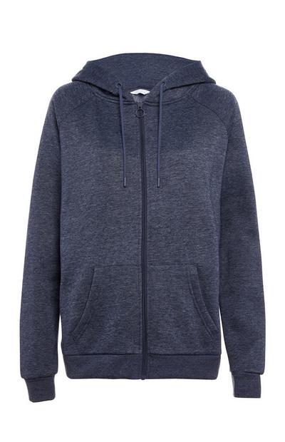 Donkerblauw gemêleerde hoodie met rits