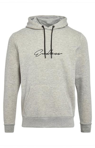 Grey Endless Print Pull Over Hoodie