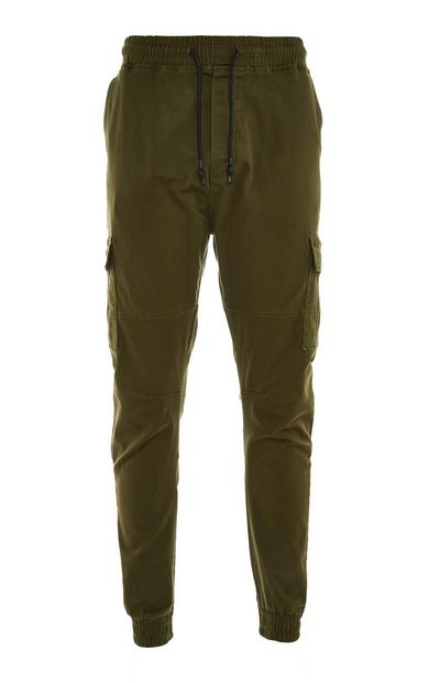 Olive Tie Waist Cuffed Cargo Joggers