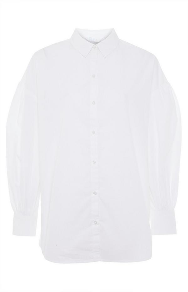 Weißes Baumwollpopeline-Hemd mit Manschetten