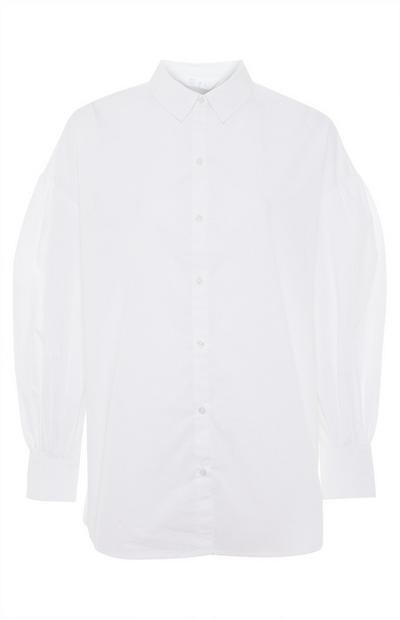 White Cotton Poplin Cuff Shirt