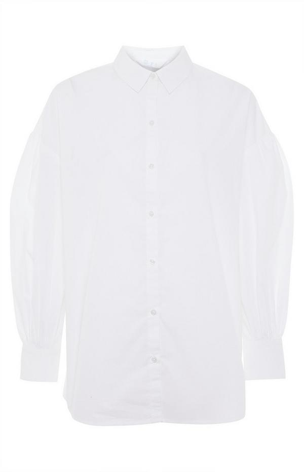 White Cotton Poplin Cuff Shirt