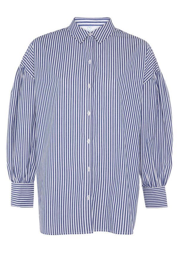 Blau gestreiftes Baumwollpopeline-Hemd mit Manschetten