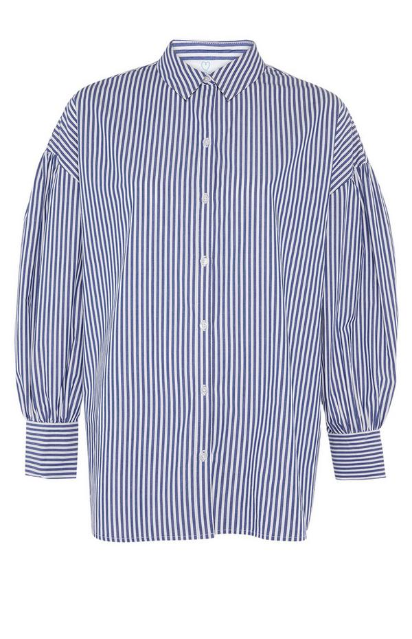 Blue Striped Cotton Poplin Cuff Shirt