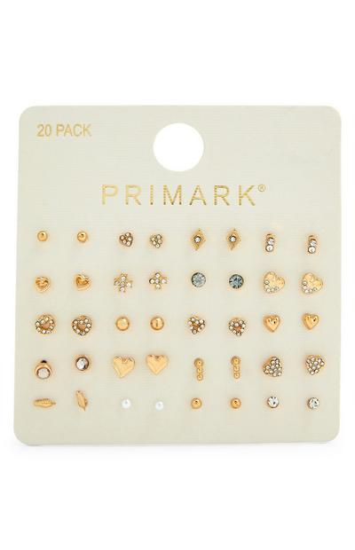 20-Pack Rhinestone Earrings