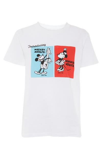 T-shirt Disney Mickey e Minnie Mouse branco