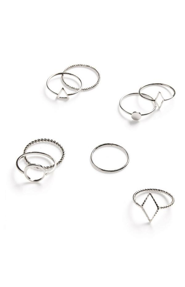 Silvertone Simple Geometric Texture Ring Set 8 Pack