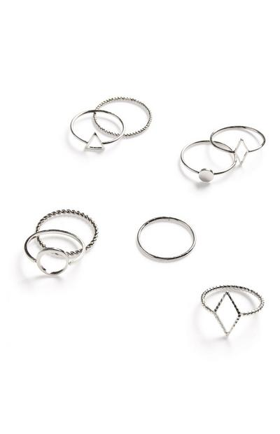 Silvertone Simple Geometric Texture Ring Set 8 Pack