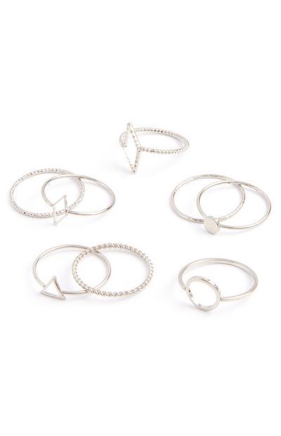 Ringen met geometrische vormen, set van 8