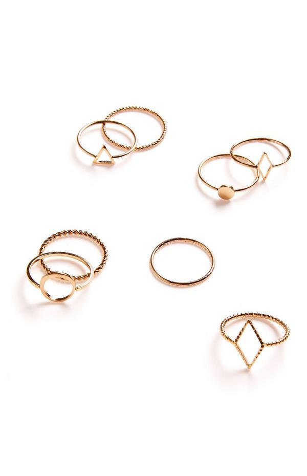 8-Pack Goldtone Simple Geo Textured Rings