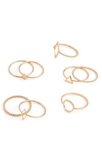 Teksturirani prstani z geometrijskimi liki, 8 kosov