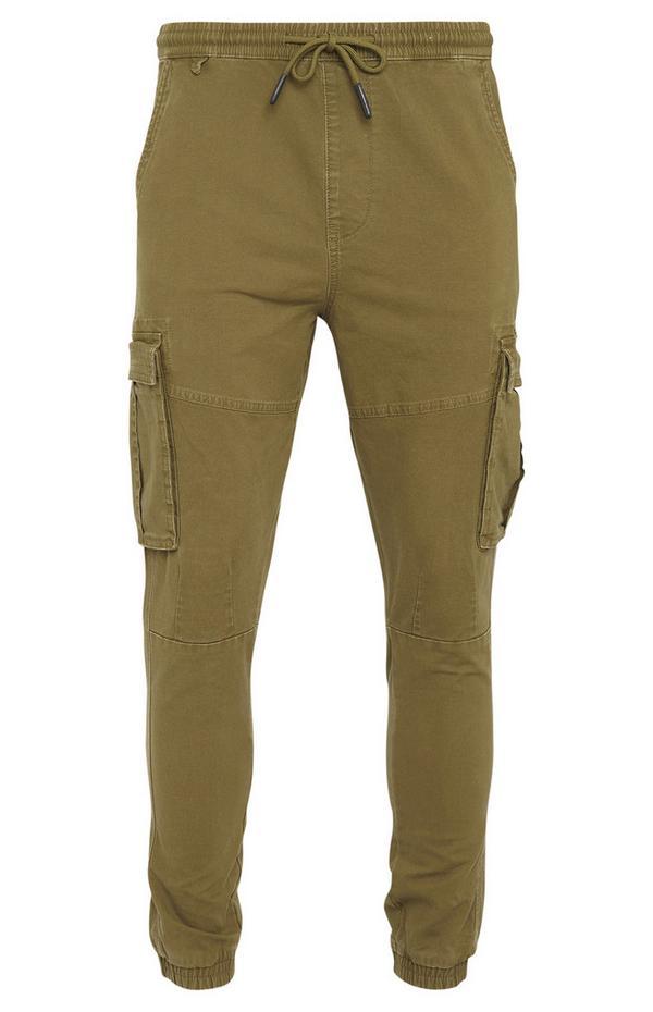 Khaki Canvas Cuff Cargo Trousers