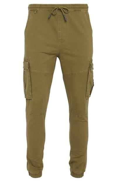 Khaki Canvas Cuff Cargo Trousers