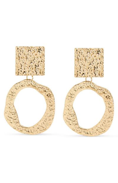 Hammered Goldtone Metal Drop Earrings