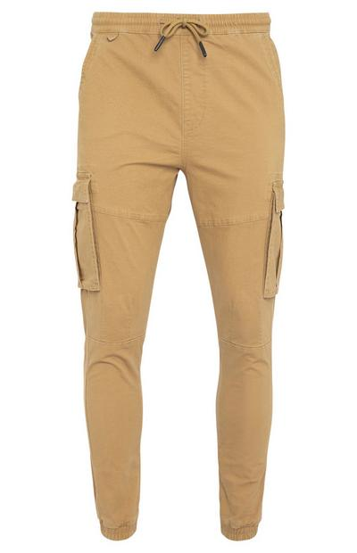 Taupe Canvas Cuff Cargo Trousers