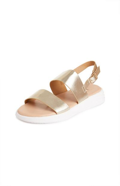 White And Gold Chunky Sole Sandals