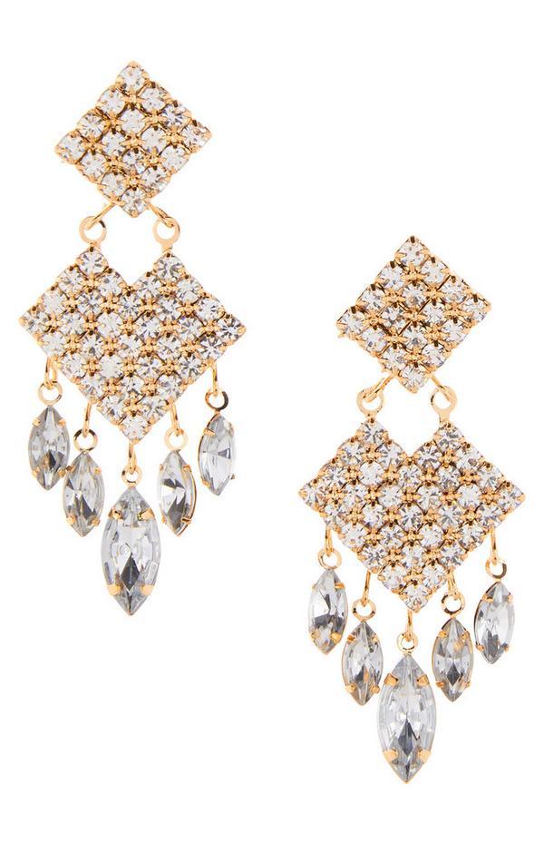 Diamond Gem Stone Drop Earrings