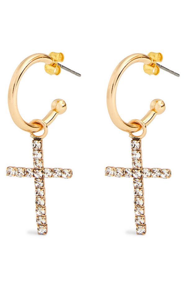 Diamonte Cross Charm Hoop Earrings