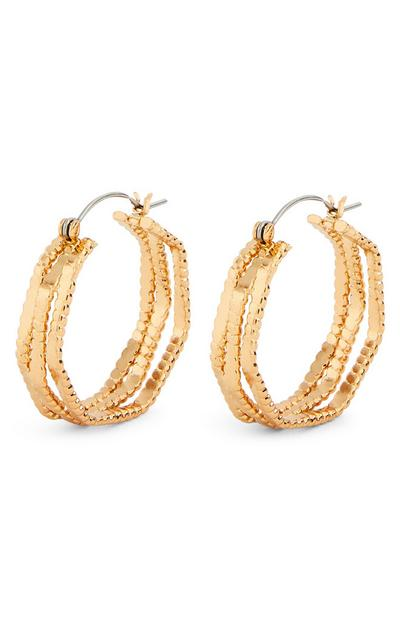Flat Ridged Goldtone Hoop Earrings