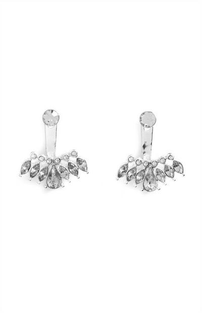 Silvertone Rhinestone Drop Earrings