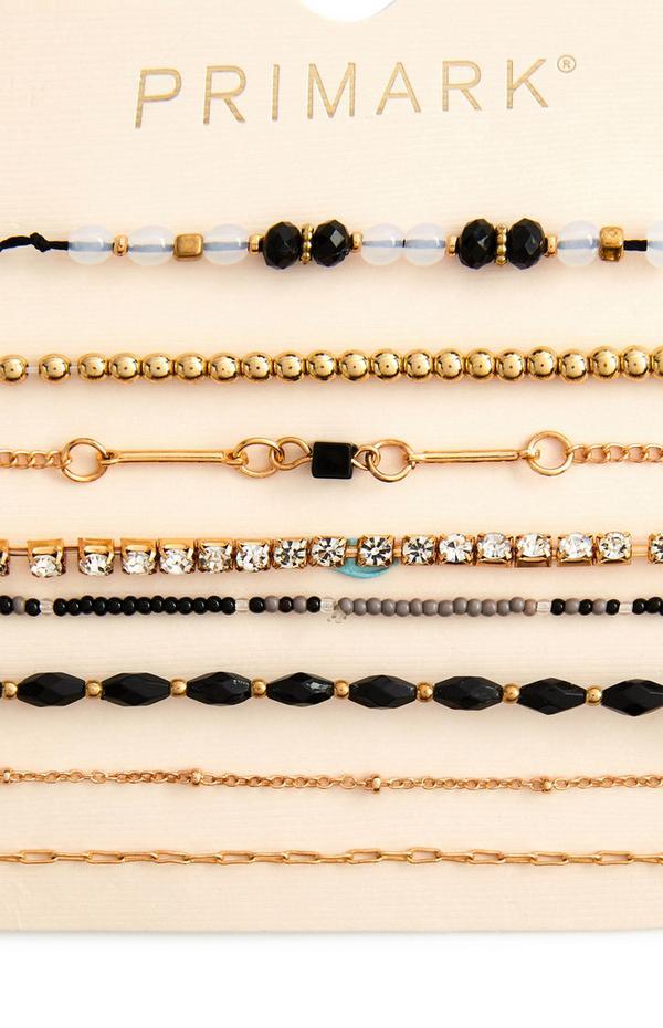 Freundschaftsarmbänder mit schwarzen Perlen, 8er-Pack