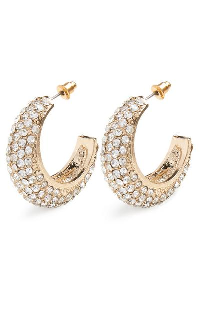Chunky Diamond Midi Hoop Earrings