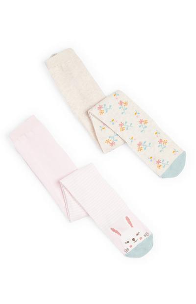 Lot de 2 collants à imprimé lapin bébé fille