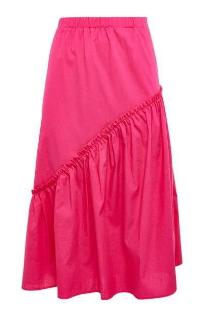 Hot Pink Poplin Asymmetric Tiered Midi Skirt