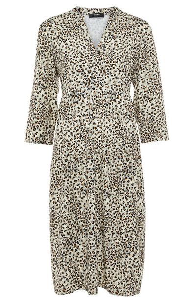 Leopard Print V-Neck Midi Dress