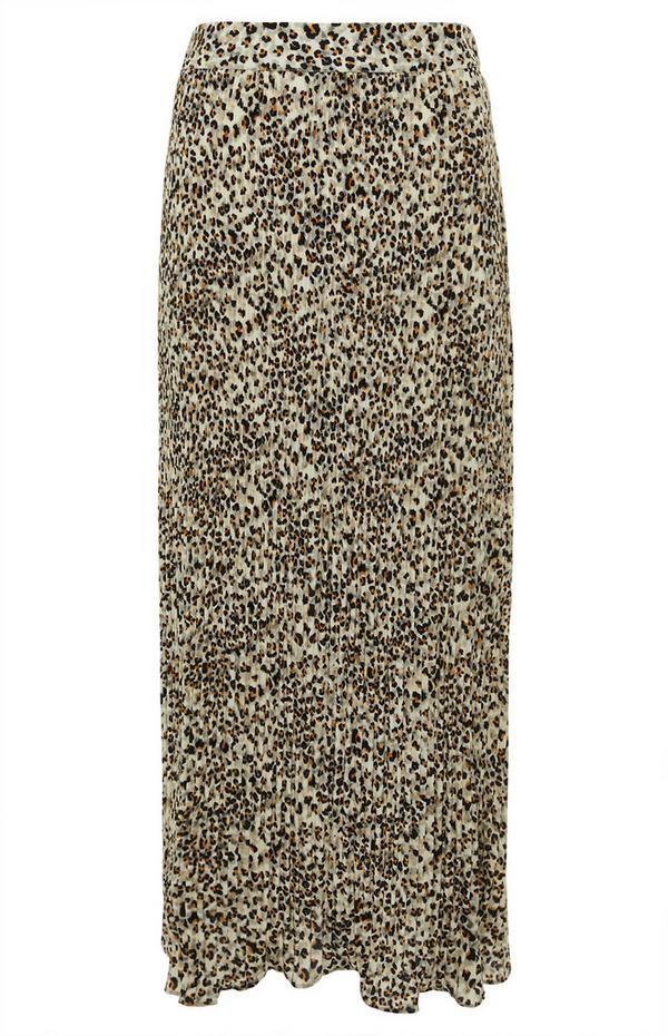 Jupe mi-longue léopard