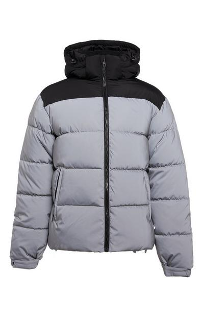 Grey and Black Reflective Puffer Jacket