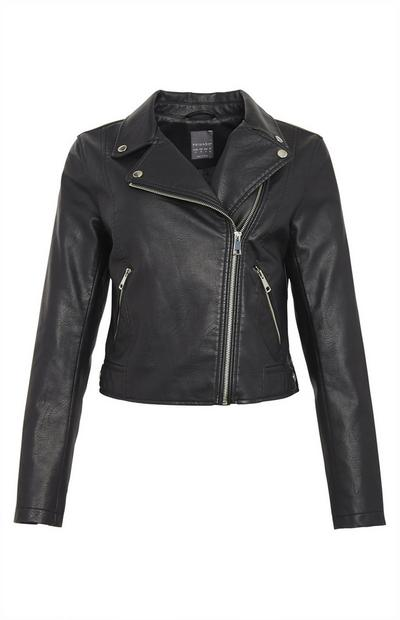 Black Essential Faux PU Leather Biker Jacket
