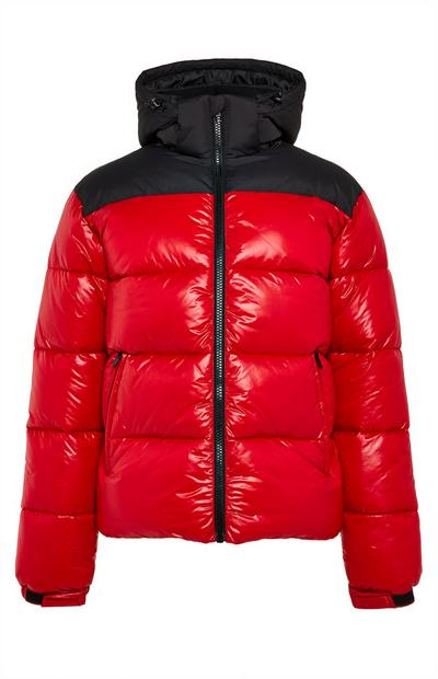 Red And Black Wet Look Puffer Jacket