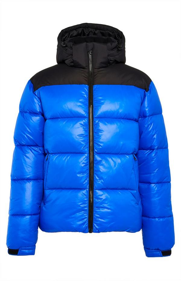 Blue And Black Wet Look Puffer Jacket