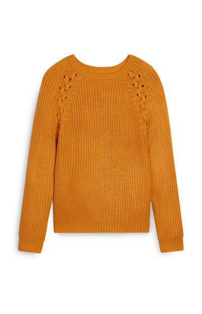 Older Girl Tie Raglan Jumper