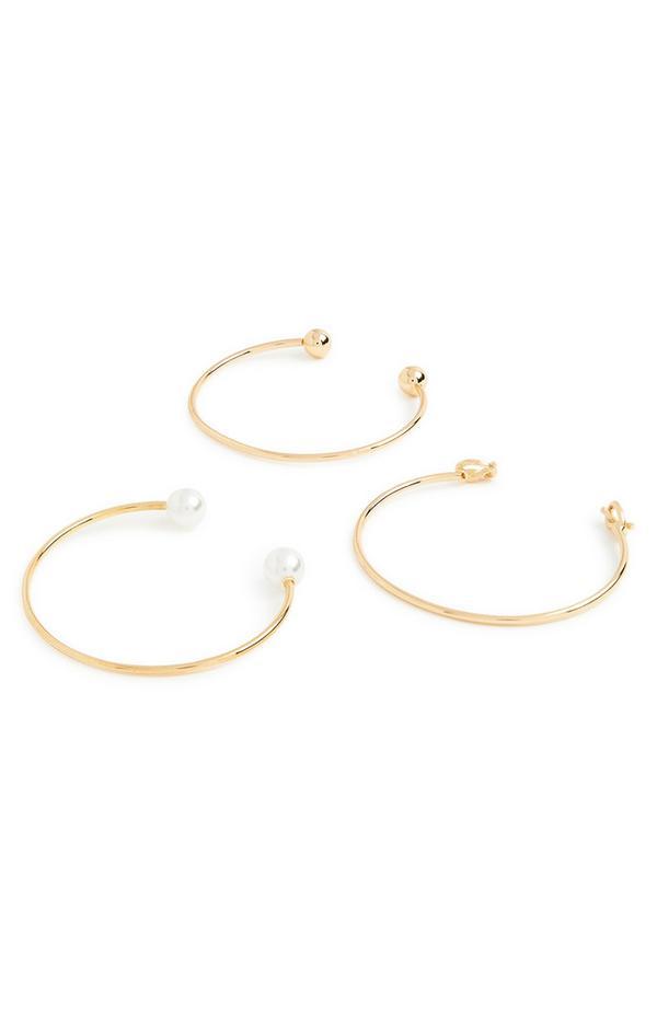 Lot de 3 bracelets torque en métal et perles