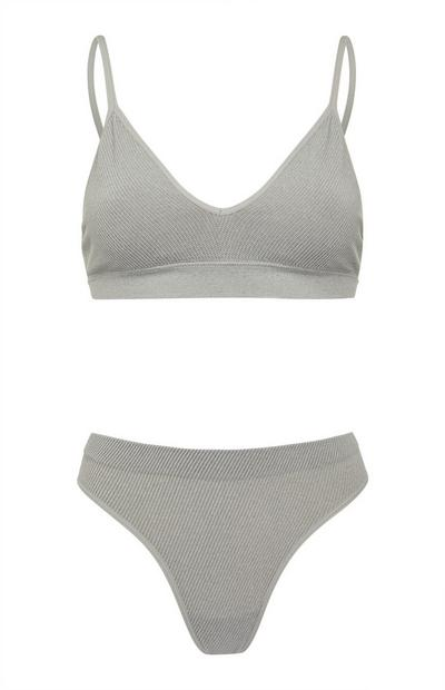 Gray Seamfree Bra and Briefs Set