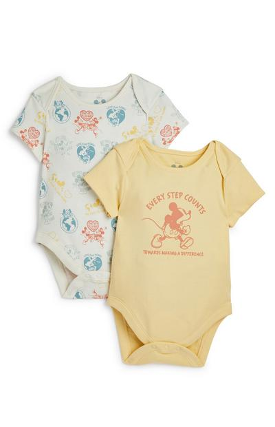 Baby Disney Mickey Mouse Yellow Print Bodysuit 2 Pack