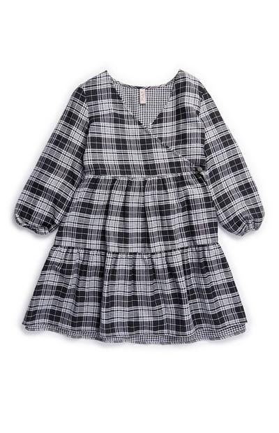 Older Girl Gray Check Woven Wrap Dress