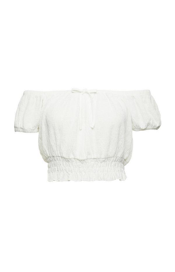 Weißes Bardot-Kurztop mit Falten und elastischem Bund