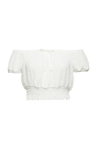 White Crinkle Elasticated Waist Cropped Bardot Top