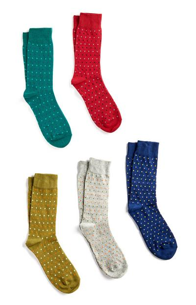 5-Pack Cotton Polka Dot Socks