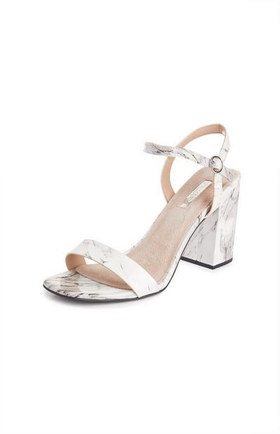 White Marble Pattern Single Strap Sandals